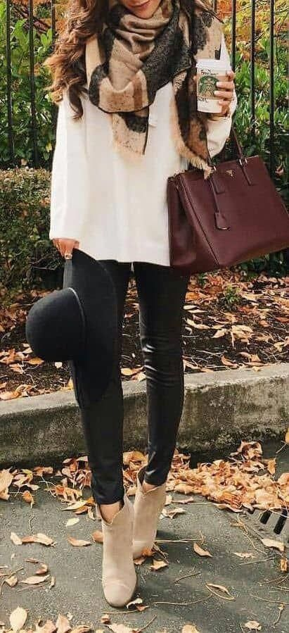 Leopard Scarf + white top shirt + black leggings + wool hats + camel Ankle boots + handbags. Fall winter fashion outfits casual edgy chic. Classy stre...