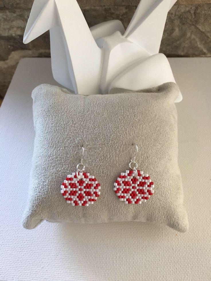BO earrings dangling round stars, stars, woven by hand in glass beads Miyuki – gift idea