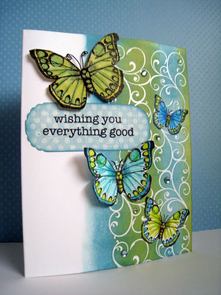 butterfly card by Lin Brandyberry.... in one of my favorite color combo's