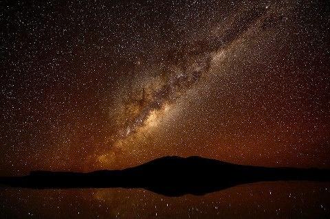 Noite Estrelada Sobre Coipasa, Bolívia.    Câmera Nikon D4.  Distância Focal 14 Milímetros de Comprimento.  Velocidade do Obturador 30 seg.  Abertura f / 4.  ISO / Film 6400.  Créditos pela Foto: Colby Brown.