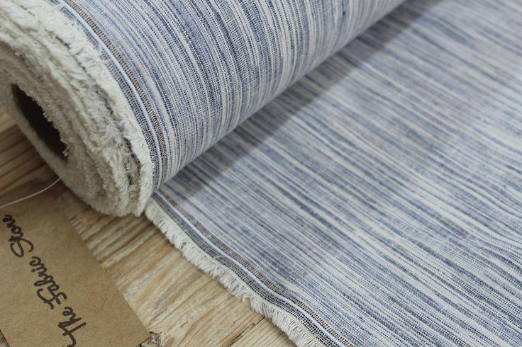 Blue Ikat Weave Linen/Cotton