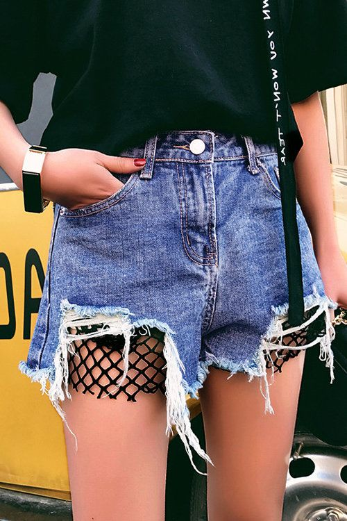 High-rise A-line Ripped Denim Shorts with Fishnet Under Details