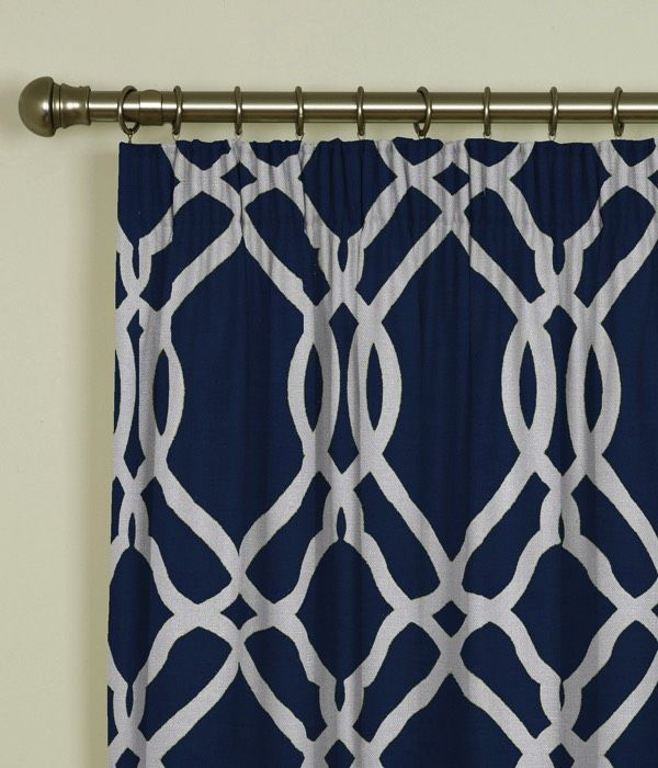 Large Geo Navy Pencil Pleat Curtains 1