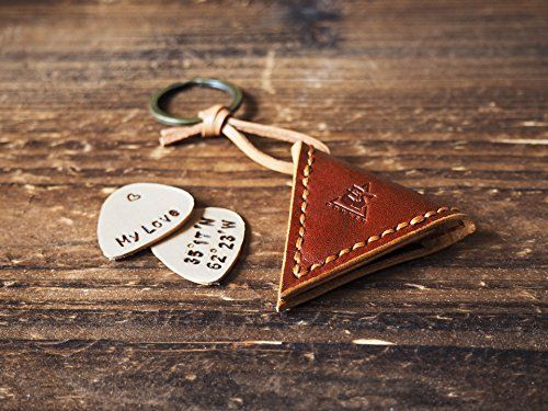 Handmade Leather Guitar Pick Holder - Have the co-ordinates of your favourite place handstamped onto the free leather pick #valentines day gifts ideas for him for boyfriend