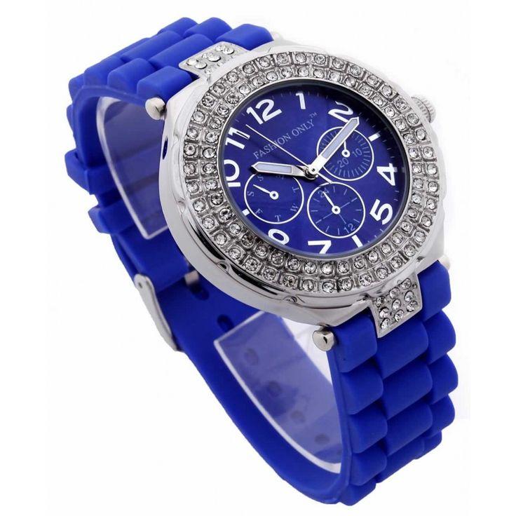 Dámské modré hodinky s platovým řemínkem. Průměr 4 cm, hodinový strojek: Quartz. Střední velikost.