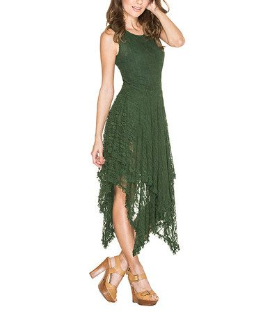 Look what I found on #zulily! Green Lace Handkerchief Dress #zulilyfinds