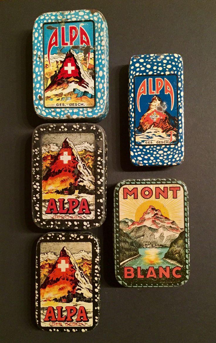 Alpa Fahrrad Flickzeug - Produit Suisse. Dosenhersteller: Sauter's Dosenfabrik Ermatingen - Mont Blanc Dose evt. Emil Frey Zürich