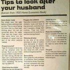 Tips to look after your husband (Extracted from a 1950 Home Economics Book) Bolly4u