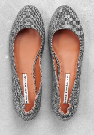 Style - Minimal + Classic : grey tweed flats &otherstories