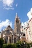 Oude gotische architectuur in Brugge, België stock photography