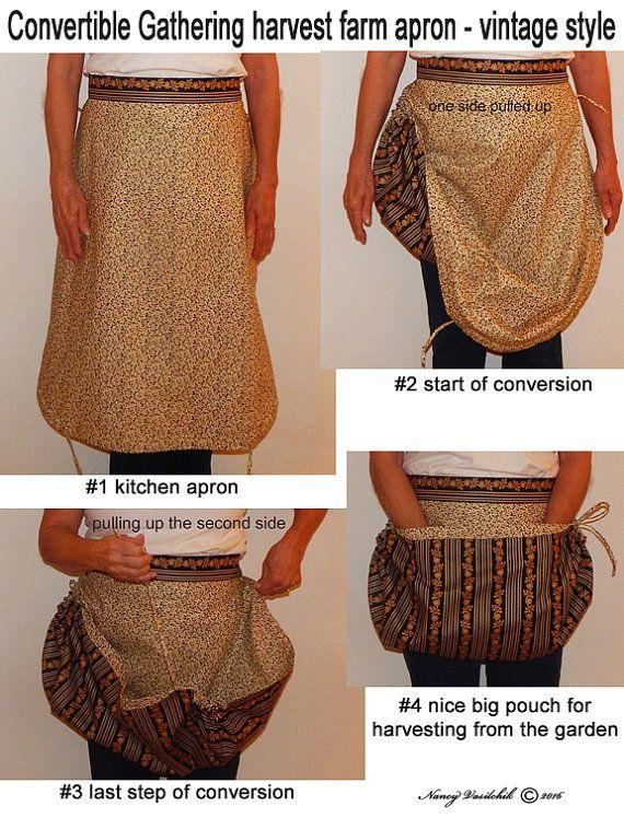 Convertible Gathering harvest farm apron vintage by sewbizzynancy