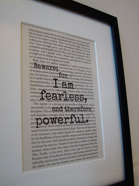 Frankenstein Book Quote Print Inspirational by NoodleBookArt