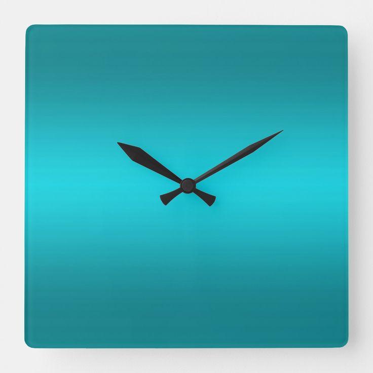 Dark and Light Aqua Blue Gradient – Turquoise Square Wall Clock