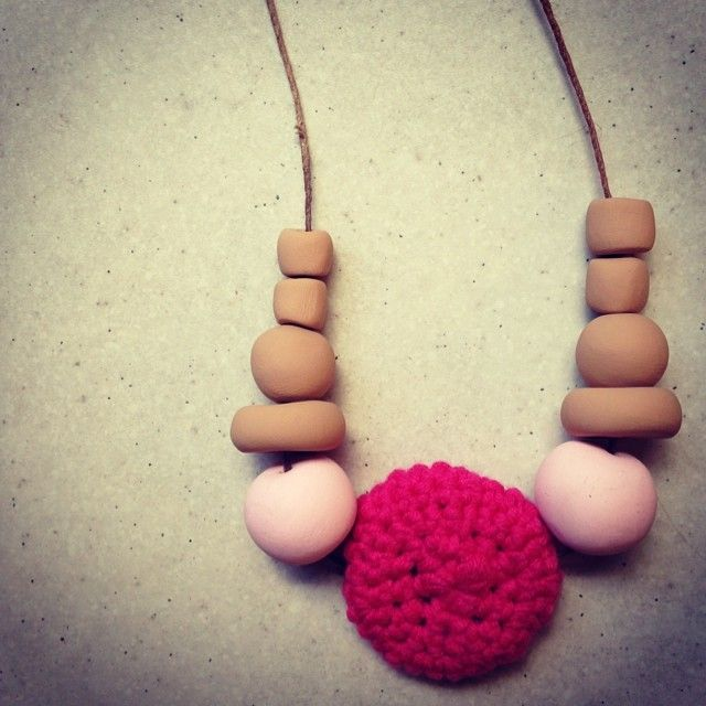 Crochet and clay necklace