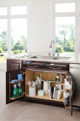 organize under kitchen sink, nice and tidy, makes you want to look under the sink !