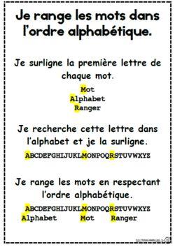 Ordre alphabétique, alphabet, ce1, affiche, mémo, vocabulaire
