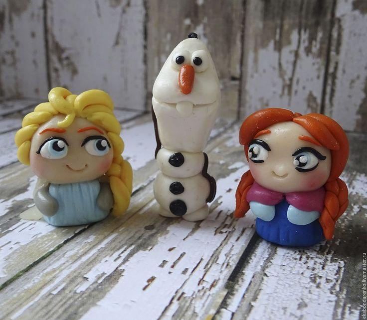 """Купить Герои м/ф """"Холодное Сердце"""" Эльза, Анна и снеговик Олаф - полимерная глина, подарок"""