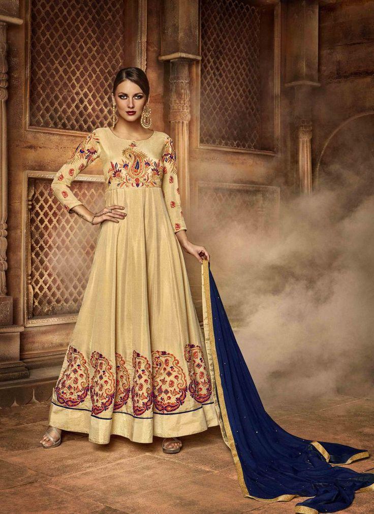 Fancy Designer Anarkali Collection Dark Goldenrod Colored Salwar Suit