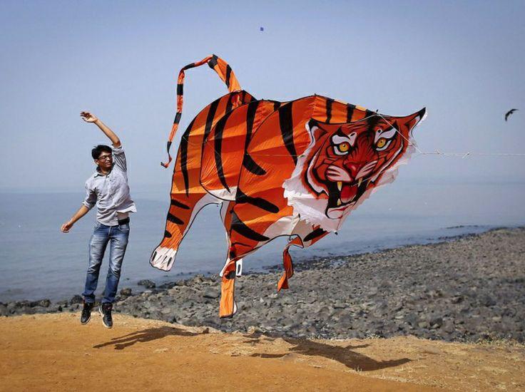 Instantané saisi au Festival international de cerfs-volants de Bombay, le 8 janvier. (REUTERS/Danish Siddiqui)