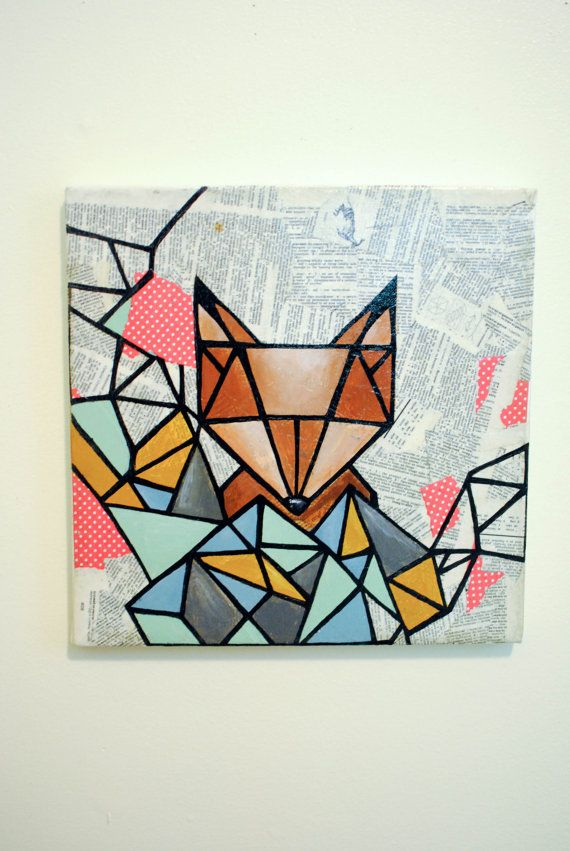 I love the way the shapes cover two and a half sides.  (Geometric fox original mix media)