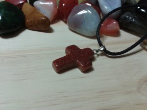 Goldstone cross amulet-For Keeps gemstone accessories