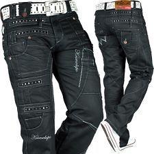 Kosmo Lupo Mens Jeans Leisure Pants Clubwear Designer Dope Cargo Style Black
