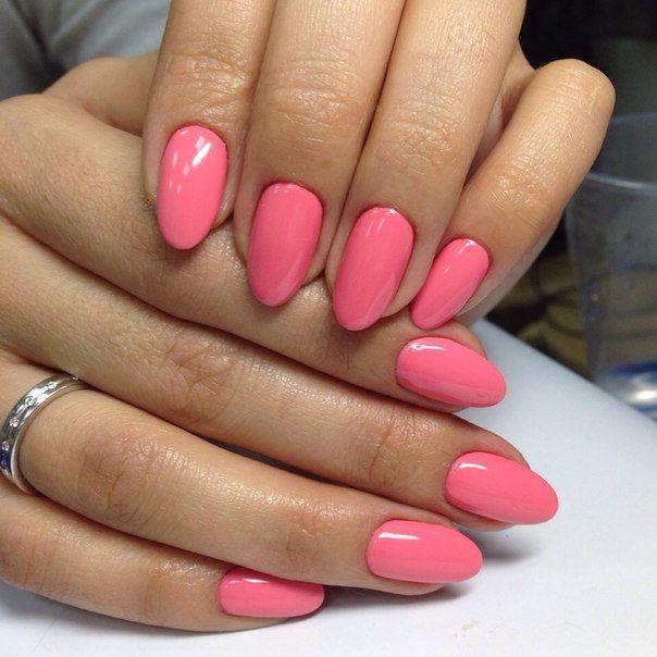 Accurate nails, Almond-shaped nails, Beautiful nails 2016, Bright pink nails…