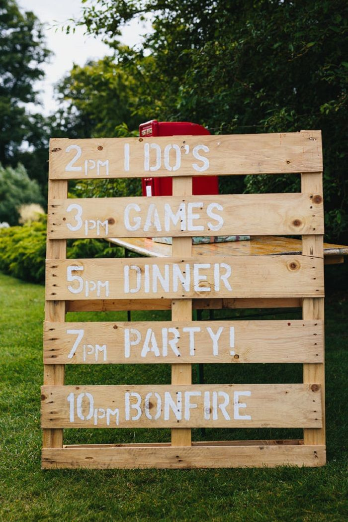 Unique wedding reception ideas on a budget - Wooden Pallet Order of The Day Sign, unique wedding ideas,cool wedding ideas and keep within budget