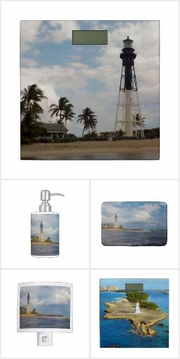 Lighthouse Bath Accents - Lighthouses - the mere thought of those beacons of hope brings comfort and inspiration to many. Incorporate a lighthouse image or two into your nautical bath decor. Included here are matching or coordinating items to accessorize your bathroom in style: Bath sets, bath mats, bathroom scales, and nightlights.