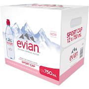 Evian Sport Cap Natural Spring Water 12-1.58 Pt. Bottles
