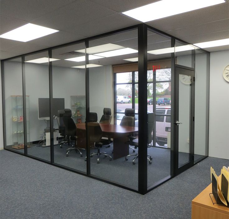 Black aluminum and glass conference room interior design for Glass walls and doors