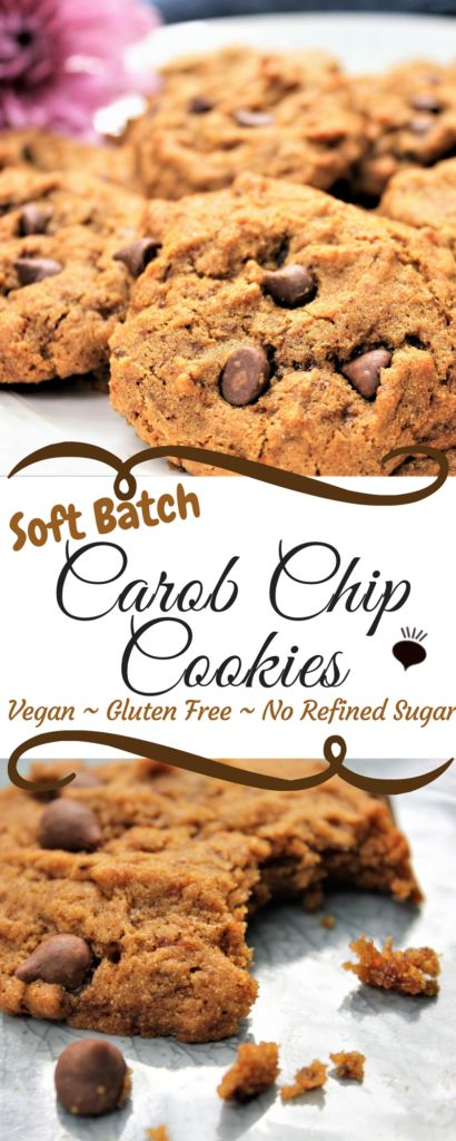 These Soft Batch Carob Chip Cookies are outrageously good! You will never guess that they are gluten free, vegan, or the fact that they have no refined sugar! thehiddenveggies.com