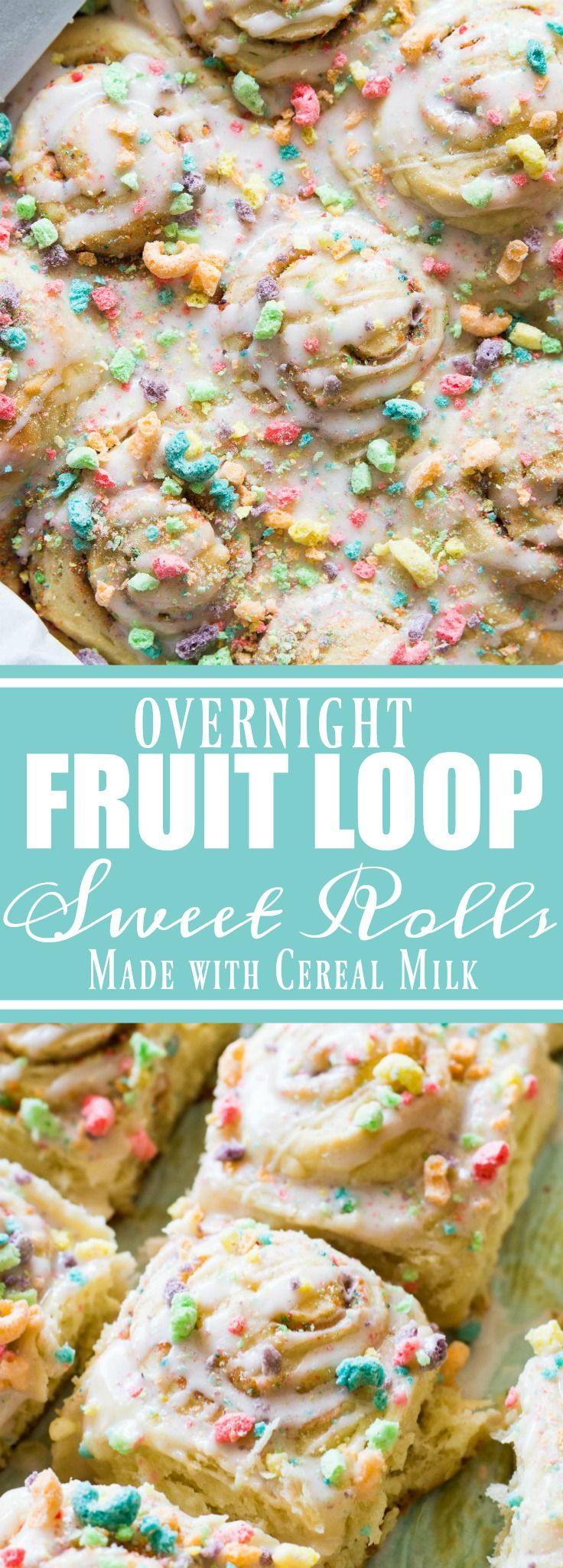 Get a head start on breakfast by prepping these Fruit Loop sweet rolls the night before!  Made with actual fruity cereal milk, loaded with pieces of fruit loops, and all drizzled with a fruity cereal milk glaze.