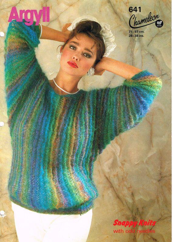 Vintage 1980s Argyll Mohair Chameleon Original knitting pattern, rainbow striped bat wing jumper, size 28-38 inch chest, hand knitting