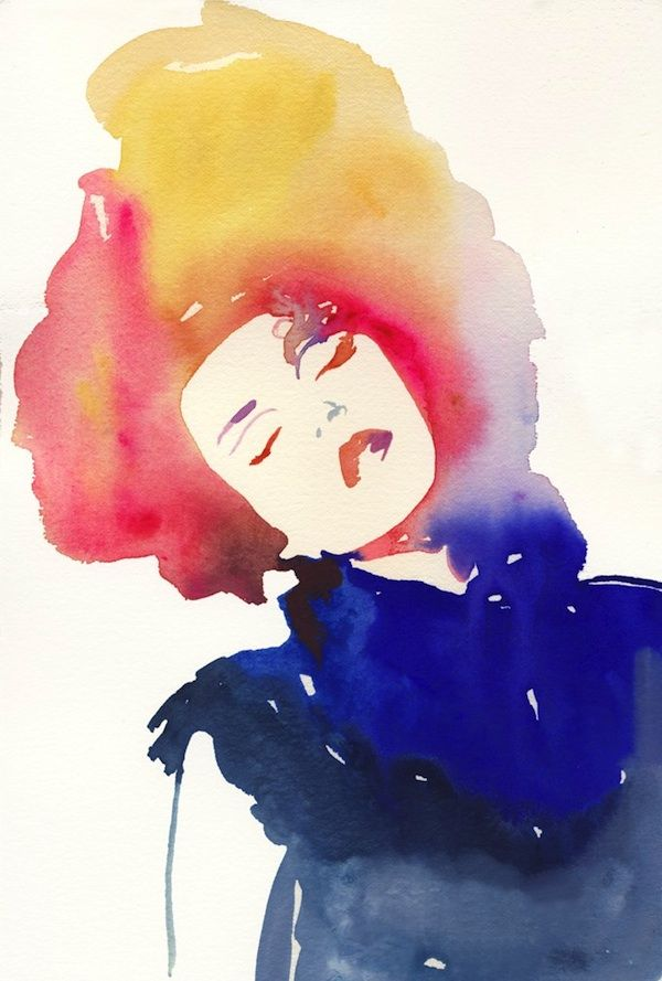 Cate Parr Modelink 4 Watercolor Fashion Illustration Print, $35, available at Silver