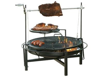 Round Rock Fire Pit Grill Amp Rotisserie 48 Quot Outside