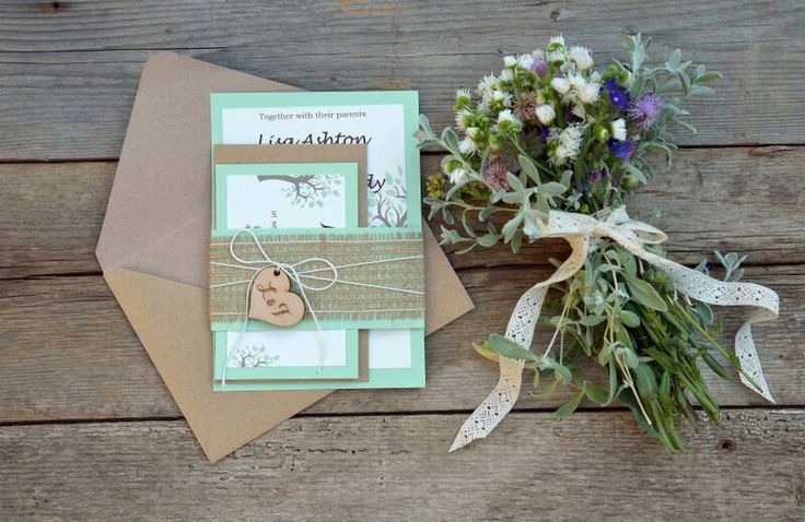Rustic Wedding Invitation Suite Mint Green Wedding Invitation Suite Rustic Burlap Tree Invitations Burlap Invitation Set of 20 by MelindaWeddingDesign on Etsy https://www.etsy.com/listing/242043786/rustic-wedding-invitation-suite-mint