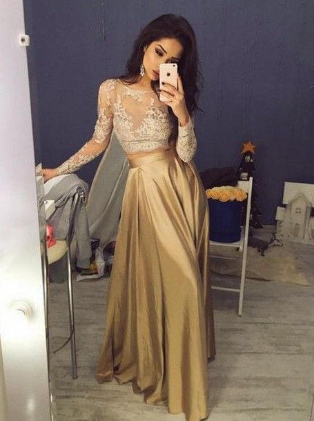 gold prom dress,long prom dress,two pieces prom dress,lace sleeves prom dress,charming evening gown,BD2616