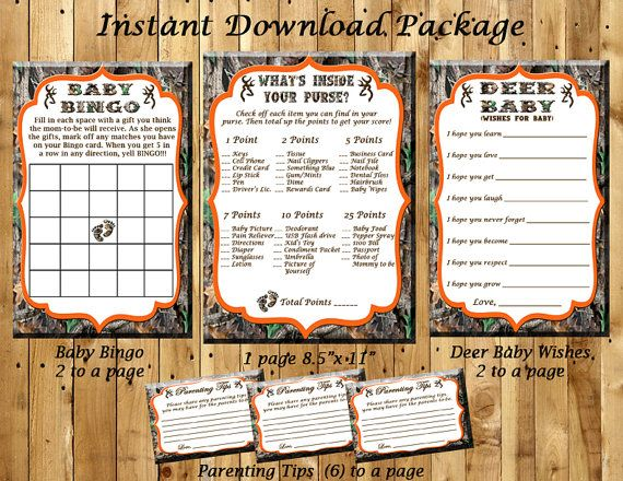 Camo Baby Shower Game Package.....Baby Bingo, What's In Your Purse, Deer Baby Wishes and Parenting Tips.....INSTANT DOWNLOAD.....PDF Files