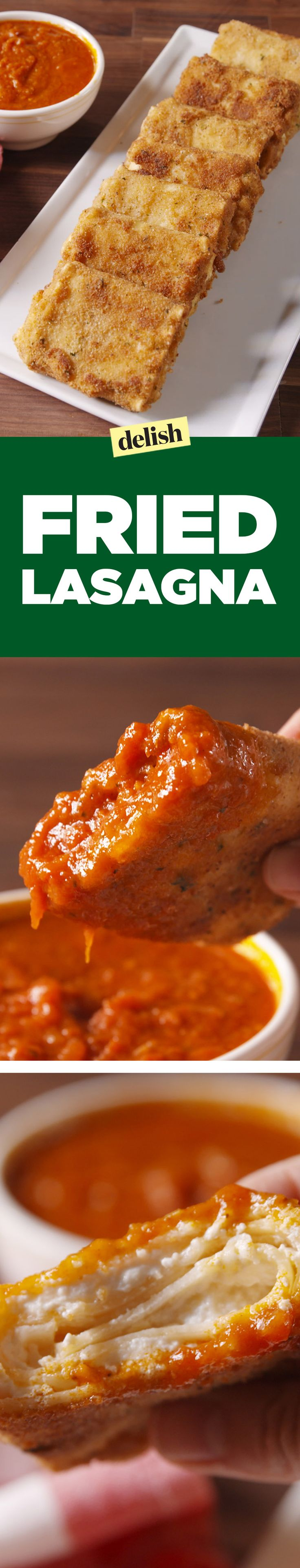 Our Fried Lasagna slays everything on the Olive Garden​ menu. Get the recipe on Delish.com.