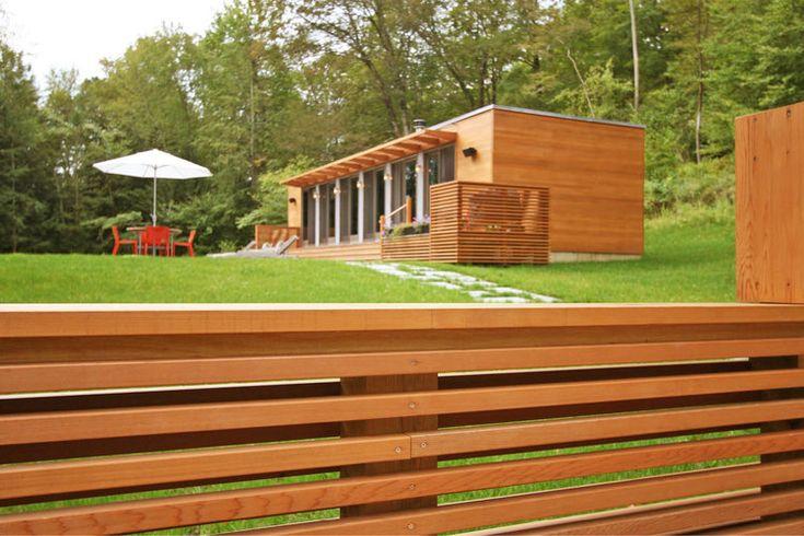 Modern Modular Prefab Pool House   Connecticut   Cedar Siding Sliding Doors Screen Railing   RES4