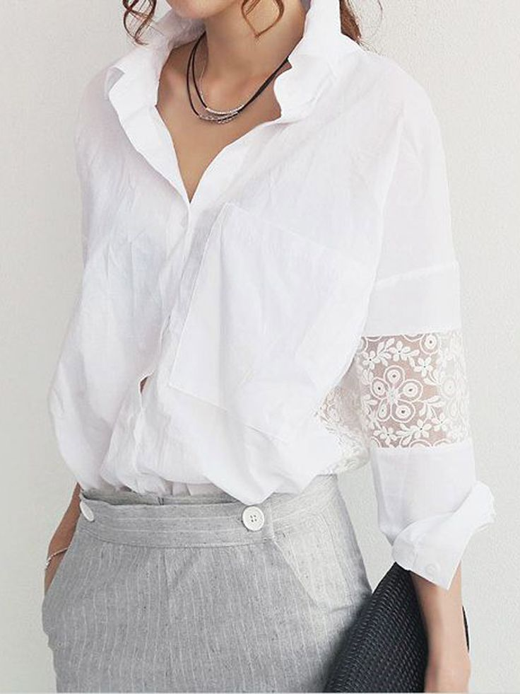 So Pretty! Love this Romantic Version of a Basic White Shirt! White Shirt with White Lace Insert Sleeves and Back Panel #Pretty #Romantic #White_Lace #White_Shirt #Fashion