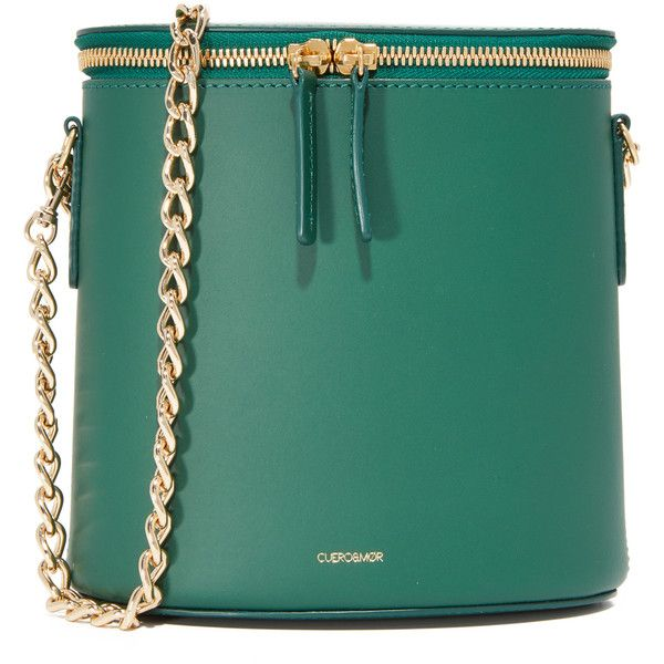 Cuero & Mor Perla Chain Bag ($580) ❤ liked on Polyvore featuring bags, handbags, shoulder bags, purses, forest, chain strap purse, leather man bags, leather shoulder bag, leather shoulder handbags and leather bucket bag