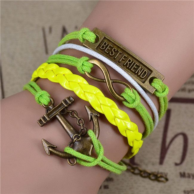 Vintage Infinity Anchor Hook Artificial Leather Bracelet Steering-Wheel Bracelets & Bangles Jewelry
