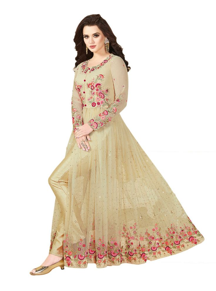 Indian Ethnic Indo Western Net Silk Salwar Kameez Wedding Suit Beige Wear Dress #RadhaKrishnaExports #IndoWestern