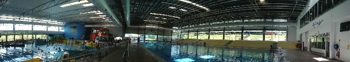 Panaromic shot of the Ryde Aquatic centre - Shot from Google Nexus Mobile. This was also one of the swimming venues during the Sydney 2000 Olympics, you see the sign on the far right of the pic.