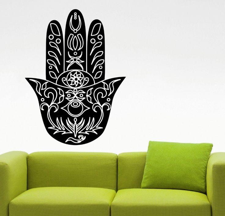 Хамса рук Дизайн настенные рука Фатимы Мандала спальня декор гостиной плакаты Съемный Фреска Виниловые наклейки S 514 купить на AliExpress