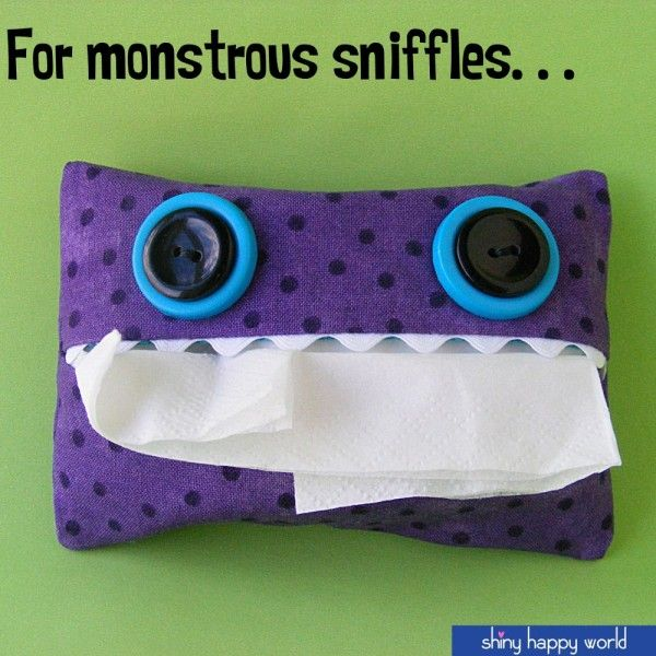 Tissue Pack for Monstrous Sniffles - a free pattern from Shiny Hapy World
