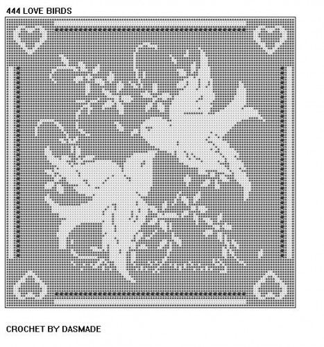 Love Birds Filet Crochet Doily Afghan Pattern Item 444   CROCHETBYDASMADE - Patterns on ArtFire