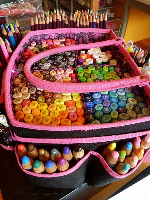 Neat ideas - keep all your art journalling supplies in a handy caring bag so you can grab them and work wherever you want.